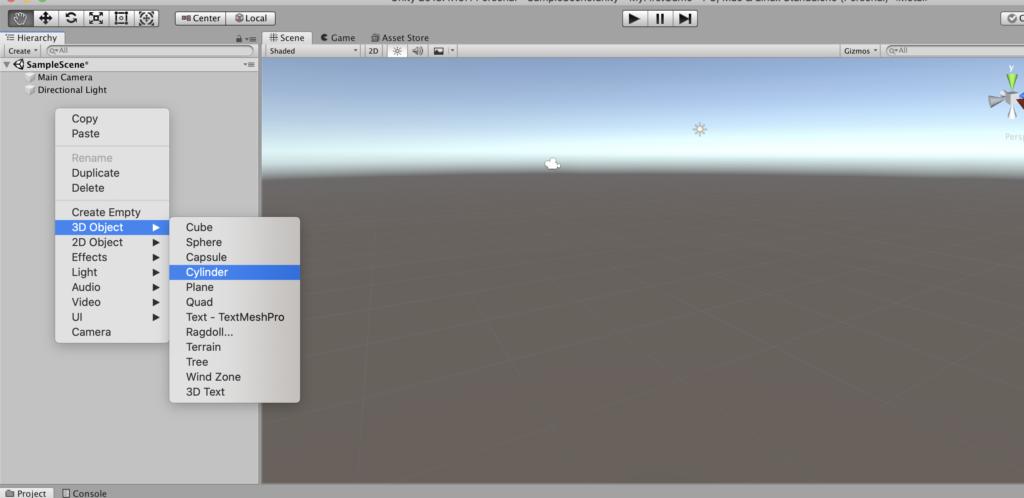 Unity - добавление 3D элемента на сцену.
