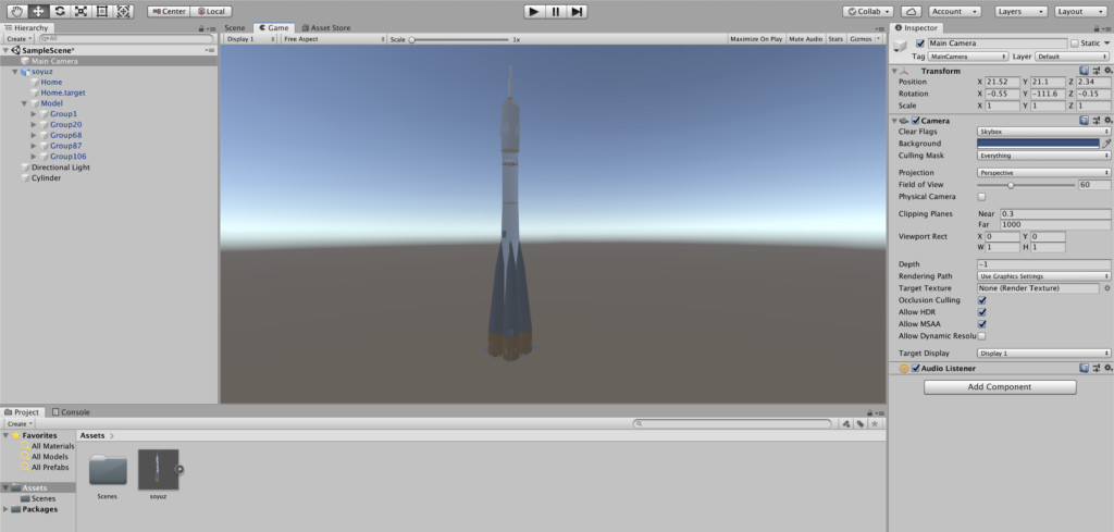 Unity - Добавление 3D модели ракеты на сцену
