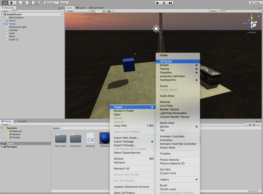 Unity - создание первого скрипта на C#