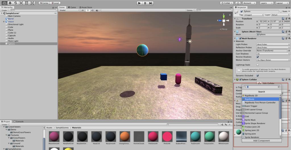 Создание игр на Unity - RigidBody - добавление физики