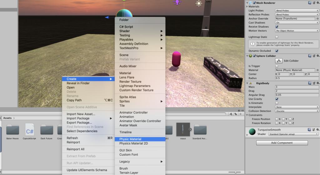 Создание игр на Unity - Physic Material - добавление физического материала.