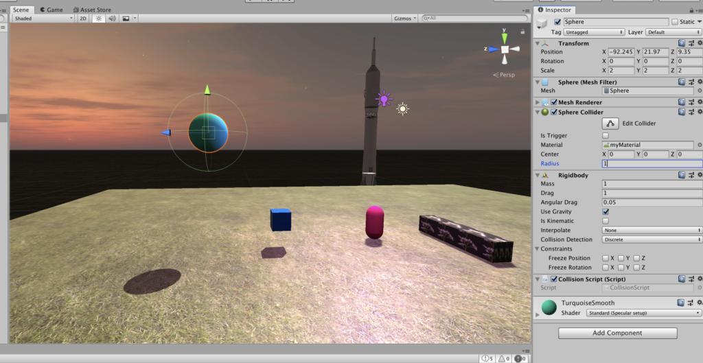 Создание игр на Unity - Collider - изменение коллайдера