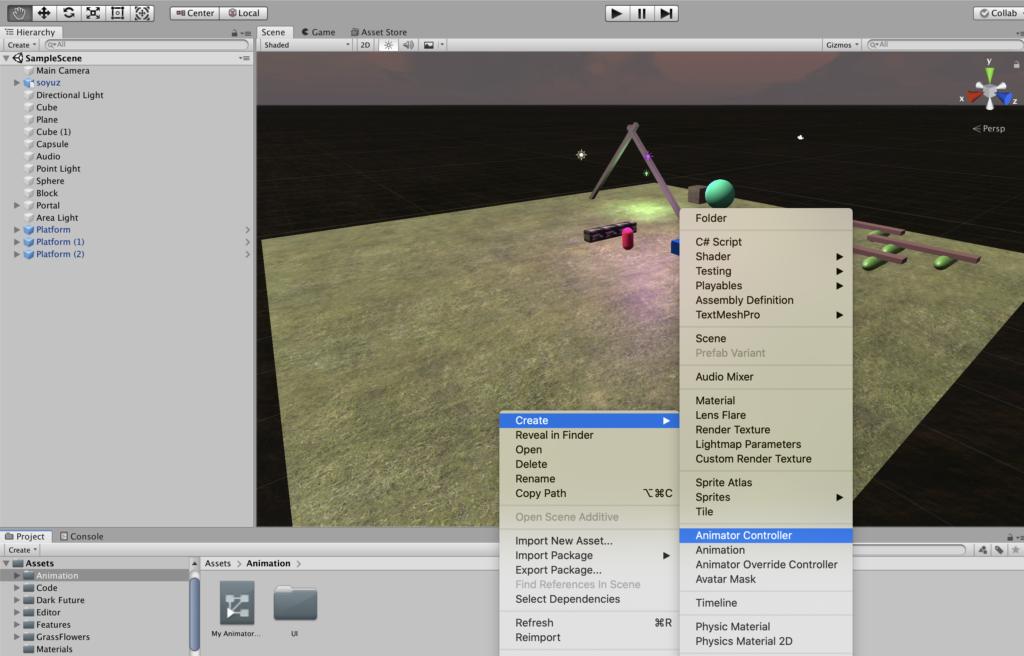 Добавление Animator Controller в Unity
