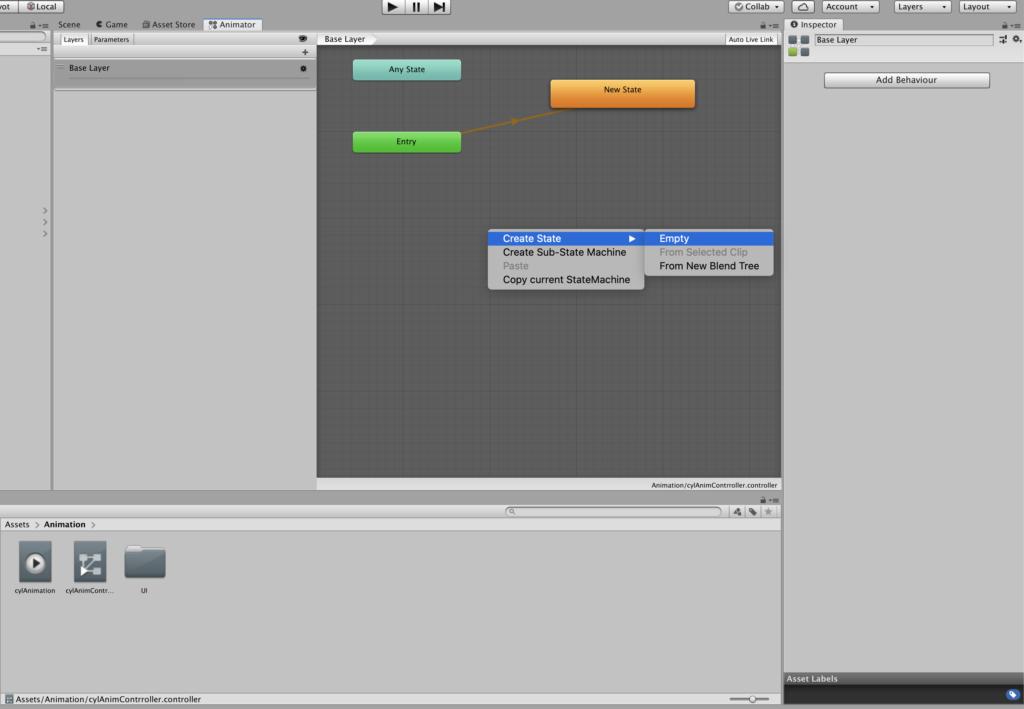 Добавление нового State в Animator Controller
