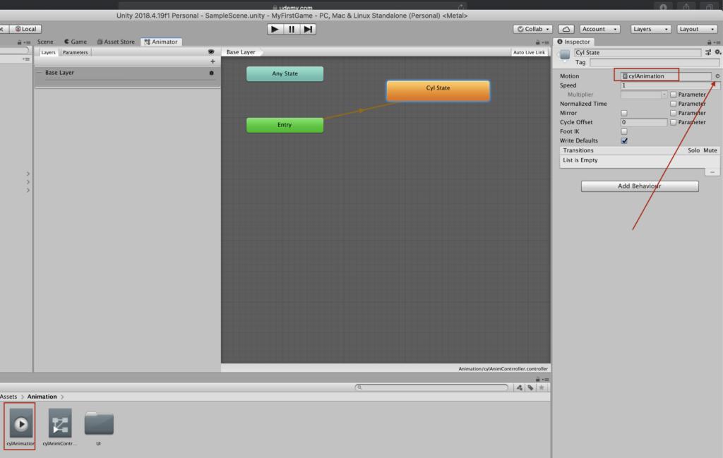 Добавление анимации в State в Animator Controller